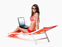 Vacation with laptop Stock Photo