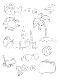 Vacation Line Drawings Set Stock Photography