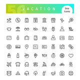 Vacation Line Icons Set Stock Photo