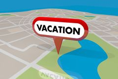 Vacation Location Map Pin Holiday Spot Travel Trip Destination 3. D Illustration Royalty Free Stock Photo
