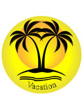 Vacation logo. Silhouette of palm trees on yellow background with vacation text Stock Photos