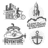 Vacation logo. Unusual creative vacation logo with cyclist, rocket, submarine, anchor - vintage style. All badges can be easily disassembled into separate Royalty Free Stock Photography