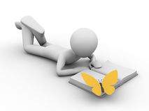 Vacation: man lying and reading a book with a butt. 3d rendered copyspaced image with a man lying and reading a book and a yellow butterfly on the book Stock Images