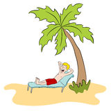 Vacation Man On Private Island Royalty Free Stock Images