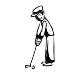 Vacation man putting golf BW Stock Images