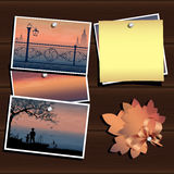 Vacation memories. Illustration of photos on the wood wall. Inspiration board. Travel and vacation memories. Vector, EPS 10 Royalty Free Stock Photo