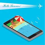 Vacation with mobile phone concept Royalty Free Stock Images
