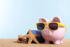Vacation money concept, travel planning, retirement fund, Piggy Bank on beach Stock Images