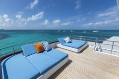 Vacation on Motor Yacht, details of Interior Luxury Yacht. From Bahamas to Caribbean Stock Photo