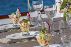 Vacation on Motor Yacht, details of Interior Luxury Yacht. From Bahamas to Caribbean Stock Photos