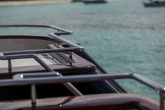 Vacation on Motor Yacht, details of Interior Luxury Yacht. From Bahamas to Caribbean Royalty Free Stock Images