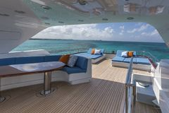 Vacation on Motor Yacht, details of Interior Luxury Yacht Royalty Free Stock Image