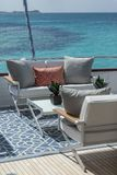 Vacation on Motor Yacht, details of Interior Luxury Yacht. From Bahamas to Caribbean Stock Image