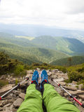Vacation in the mountains with Hiking sticks. Royalty Free Stock Images