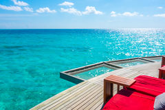 Vacation net seat in tropical Maldives island and beauty of the Royalty Free Stock Image