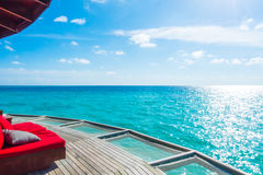 Vacation net seat in tropical Maldives island and beauty of the Stock Image