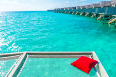 Vacation net seat in tropical Maldives island and beauty of the Stock Photos