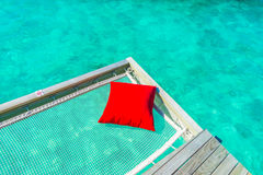 Vacation net seat in tropical Maldives island and beauty of the Royalty Free Stock Photo