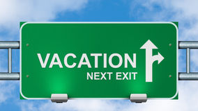 Vacation next exit road sign. Stock Photo
