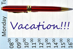 Vacation note. In the agenda Royalty Free Stock Photo