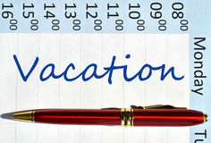 Vacation note. In the agenda Royalty Free Stock Photos