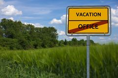 VACATION - OFFICE . series of images with words associated with the topic SUMMER AND SUN Stock Photography