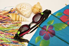 Vacation pacific. Goggles, hula straw, sea shells and tropical flower like the hibiscus in an umbrella are group together giving the message of vacation in the royalty free stock image