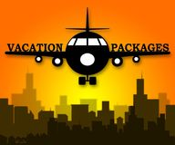 Vacation Packages Shows All Inclusive Getaways 3d Illustration. Vacation Packages Plane Shows All Inclusive Getaways 3d Illustration Stock Photo