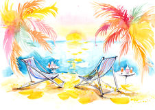 Vacation. Painting of sunny tropical island for two vector illustration