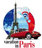Vacation in Paris. Vectorial round vignette on theme of French and Paris with inscription Vacation in Paris on background French symbolism and Eiffel Tower Stock Images
