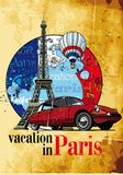 Vacation in Paris grunge. Vectorial round vignette on theme of French and Paris with inscription Vacation in Paris on background French symbolism and Eiffel Royalty Free Stock Image