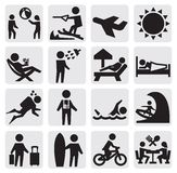 Vacation people. Vector black vacation people icon set on gray Royalty Free Stock Image