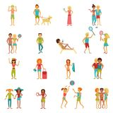 Vacation People Set. People on vacation beach party summer holidays set isolated vector illustration Stock Photo