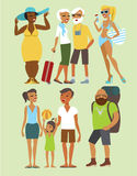Vacation people set. Various vacation people flat vector character set Stock Photo
