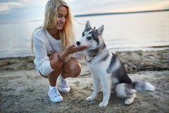 Vacation with pet Royalty Free Stock Photos