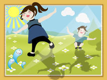Vacation Photo. A happy illustration of kids playing in sunshine Royalty Free Stock Image