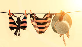 Vacation photo of bikini, hat and sunglasses Royalty Free Stock Photo