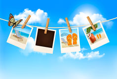 Vacation photos hanging on a rope. Vector Stock Images
