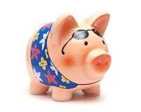 Vacation Piggy Bank. Piggy bank on white background Royalty Free Stock Photo