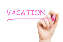 Vacation, pink marker. On white background royalty free stock photography