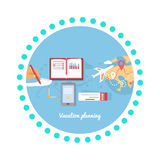 Vacation Planning Icon Flat Isolated Round Stock Images