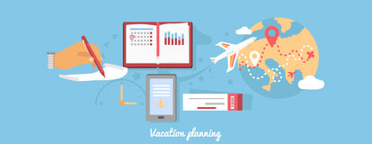 Vacation Planning Icon Flat Isolated Round Royalty Free Stock Images