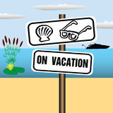 On vacation plate royalty free illustration