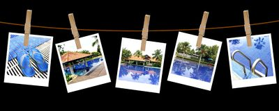 Vacation pool photography on clothespins Stock Photography