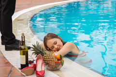 Vacation in pool Stock Images