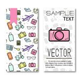 Vacation  poster. Two sides trip cards. Funny travel design with journey pattern and greeting card with camera. Tourism deco Royalty Free Stock Photo