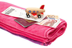Vacation ready with passport, money and airline flight ticket Stock Photography