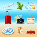 Vacation Realistic Icons. Set with airplane palm suitcase isolated vector illustration Stock Photography