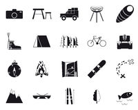 Vacation, Recreation & Travel, black and white icons set. Stock Photography