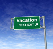 Vacation relaxing traveling resting freeway sign Royalty Free Stock Photo